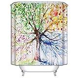 ZSZT Duschvorhang 180x200 cm Anti schimmel, 3D-Druck Water-Tinte Bunten Baum, Polyester Gewebe duschvorhang