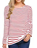 Women's Long Sleeve Striped T-Shirt Tee Shirt Tops Slim Fit Blouses (Large, Red White)