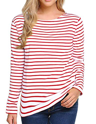 Women's Long Sleeve Striped T-Shirt Tee Shirt Tops Slim Fit Blouses (X-Large, Red White)