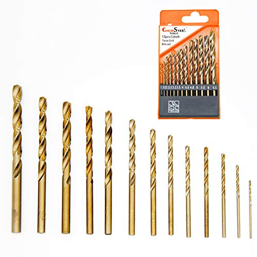 CHEW STEEL TOOLS Metric M35 Cobalt Steel Extremely Heat Resistant Twist Drill Bits with Straight Shank Set of 13pcs to Cut Through Hard Metals Such as Stainless Steel and Cast Iron