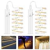 Tira Luz Cuerda 2M, Tira de Luces LED con Sensor de Movimiento, Luz Armario, Luz LED Nocturna Pilas, Decoración Iluminación para Dormitorios, Cocina, Escaleras, Baño, 3500 – 6500 K luz blanca cálida