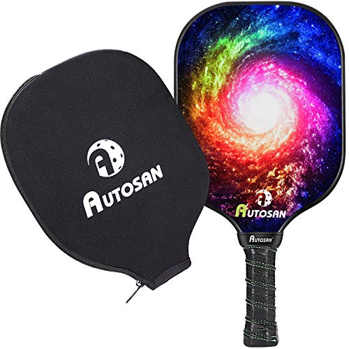 AUTOSAN Pickleball Paddle with Cover,Graphite and Fiberglass Composite Surface & Aramid Honeycomb Core Pickleball Racket,EdgeSentry Protection,Lightweight7.2-7.4 OZ Pickleball Racket for Beginner&Pro