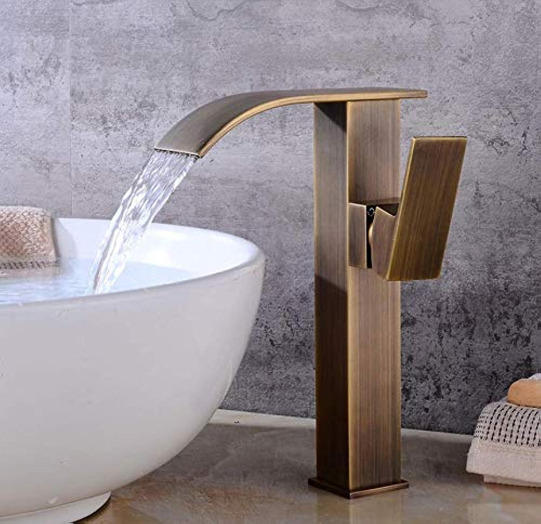 Messingwaschtischarmaturen Wasserfall Badezimmer Antike Bronze Wasserhahn Einhebelmischer Deck Montiert Wasserhhne