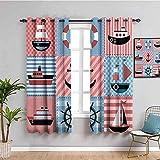 LucaSng Cortinas de Opacas - Dibujos Animados Color Vela patrón - 280x160 cm - para Sala Cuarto Comedor Salon Cocina Habitación - 3D Impresión Digital con Ojales Aislamiento Térmico Cortinas