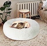 KROSER Chat Chiens Lit Paniers Rond de Luxe 60 cm, Coussin Animaux Donut de Compagnie Lavable et Chaud Super Doux et Confortable pour Petits Chiens et Chats - Blanc