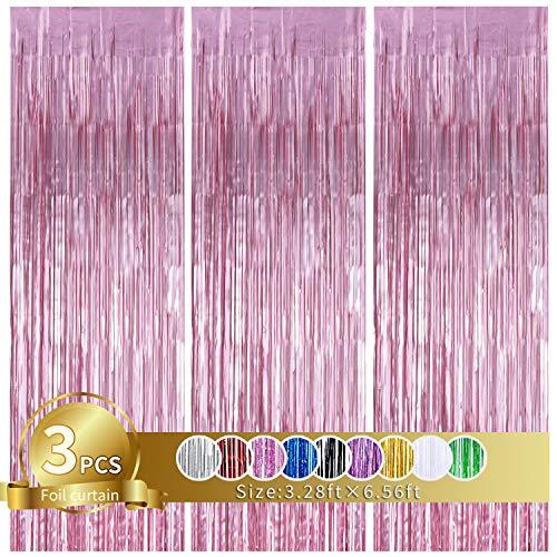 3 Stück Rosa Metallic Lametta Vorhänge,Tinsel Folie Vorhang Folienfransen Vorhang für Hochzeit Verlobung Brautdusche Geburtstag Bachelorette Party Bühnendekor