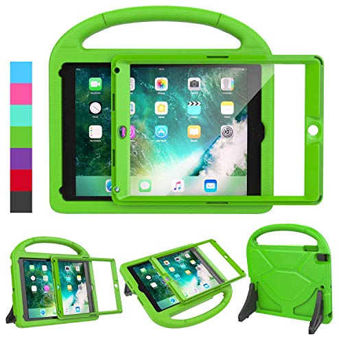 LEDNICEKER Kids Case for iPad 9.7 2018/2017 & iPad Air 2 - Built-in Screen Protector Shockproof Handle Friendly Foldable Stand Kids Case for iPad 9.7 2017/2018 (ipad 5&6) & iPad Air 2 2014 - Green
