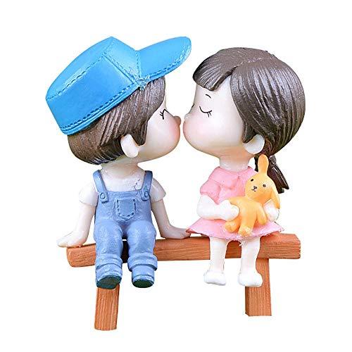 Dan&Dre Estatuetas românticas para casais, banco de beijos, boneca, durável, adorável, plantas verdes