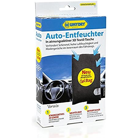 Humydry Auto Entfeuchter Mit 3d Textil Tasche 250g Gegen Beschlagene Autoscheiben Und Feuchtgikeit Im Auto Auto