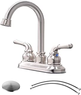 VCCUCINE Commercial Contemporary Brushed Nickel Two Handle Bathroom Sink Faucet, Lavatory Faucet with Drain Assembly and Supply Hose