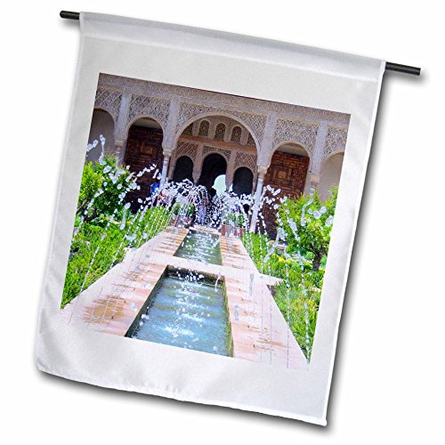 3dRose fl_112956_1 Water Fountains at Alhambra Palace Gardens in Grenada Spain-Islamic Turkish Muslim Fretwork Arches Garden Flag, 12 by 18-Inch