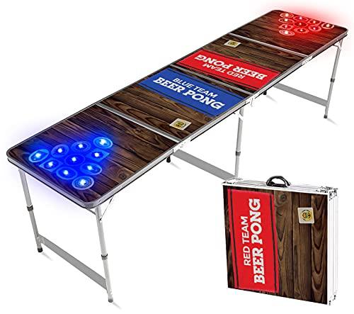 Offizieller Light Hole Beer Pong Tisch   Mit LED Beleuchtung   Premium Qualität   Offizielle Wettkampfmaße   LED Beer Pong Table   Kratz und Wassergeschützt   Partyspiele   Trinkspiele   100% Spaß