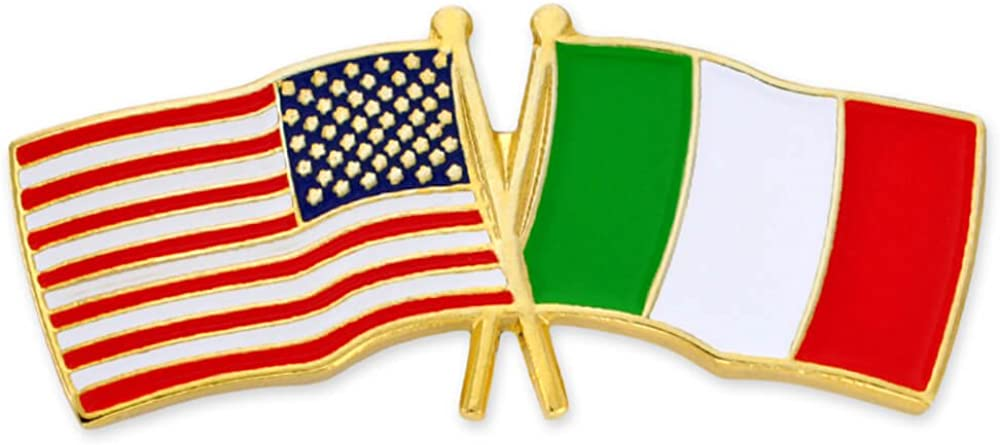 PinMart USA and Italy Crossed Friendship Flag Enamel Lapel Pin
