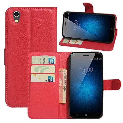 HualuBro UMIDIGI London Hülle, [All Aro& Schutz] Premium PU Leder Leather Wallet Handy Tasche Schutzhülle Hülle Flip Cover mit Karten Slot für UMIDIGI London 5.0 Inch 3G Smartphone (Rot)