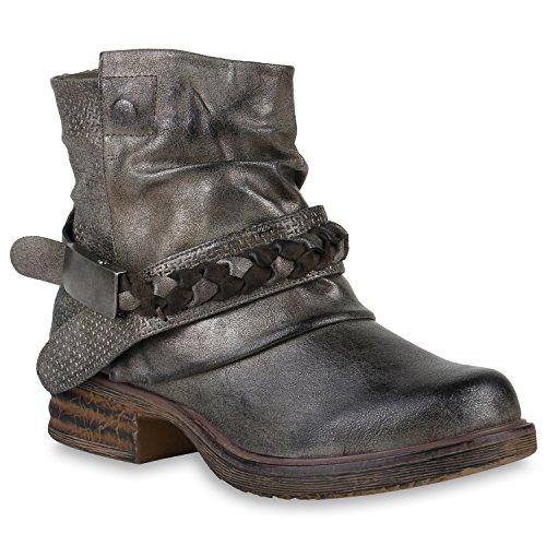 Damen Stiefeletten Biker Boots Schnallen Metallic Schuhe 147509 Grau Metallic 38 Flandell