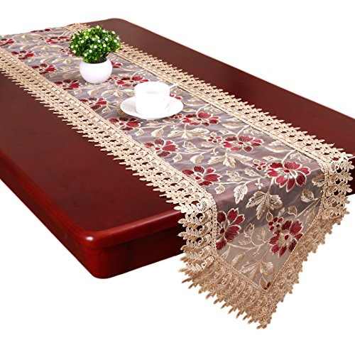 Grelucgo Small Short Burgundy Lace Doily Table Runners Dresser Scarves...
