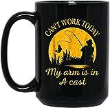N\A Divertido Juego de Palabras no Puedo Trabajar Hoy mis Brazos en una Taza de café fundida - Regalo Negro para Amigo Amante Padre Madre compañero de Trabajo