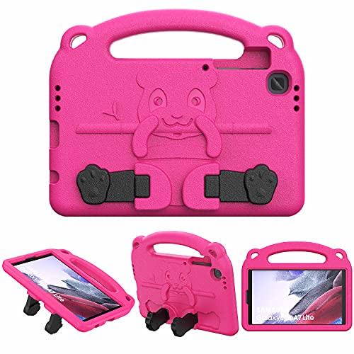 TiMOVO Funda para Tablet con Asa Compatible con Samsung Galaxy Tab A7 Lite 8.7 2021(SM-T220 / T225 / T227), Cubierta Protectora Ligera A Prueba de Golpes con Soporte para Niños, Magenta