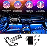 Car Interior Strip Light, 48 LED 4pcs DC 12V Multicolor Music Under Dash Lighting Kit with Sound Active Function, Wireless Remote Control, Car Charger