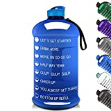 Big Capacity Gym Sports Water Bottle Half Gallon 2.2L/75OZ Water Jug with Mitivational Time Marker Dishwasher Usable Portable BPA Free Drinking Water Jug for Men Women Fitness Outdoor