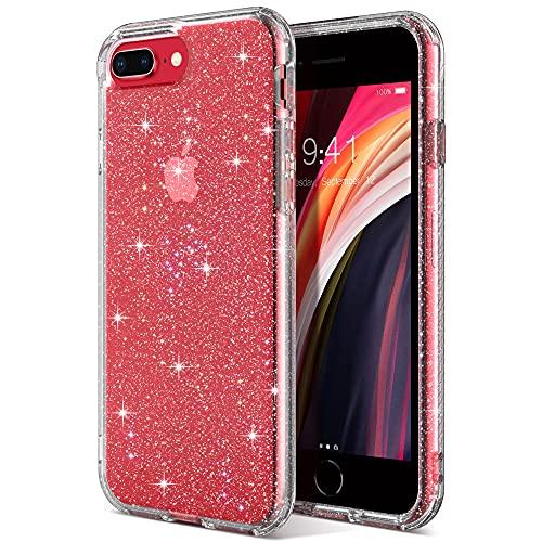 ULAK Hülle kompatibel mit iPhone 7 Plus/8 Plus, Glitzer Durchsichtige Schutzhülle TPU Bumper Handyhülle Stoßfest Phone Case für iPhone 6 Plus/6S Plus/7 Plus/8 Plus 5,5 Zoll - Glitzer Durchsichtige