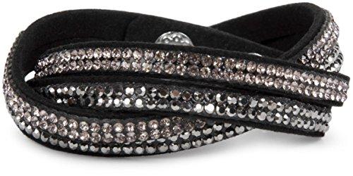 styleBREAKER weiches Strass Armband, eleganter Armschmuck mit Strassteinen, Wickelarmband, 2x2-Reihig, Damen 05040004, Farbe:Schwarz/Silber-Hellrose