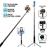 Bluetooth Selfie Stick with Tripod, Remote 59Inch MFW Extendable Monopod with Tripod...
