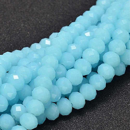 15stk Jade Perlas 8x 6mm Frosted Azul Rondelle facettiert Media Piedras Preciosas Perlas joyería para Cadena Pulsera Ring g408