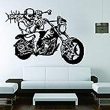HFDHFH Calcomanía de Esqueleto de Motocicleta Skull Rider Motocicleta Estilo Fresco Pegatina de Vinilo para Ventana Dormitorio Adolescente decoración de Interiores de Garaje