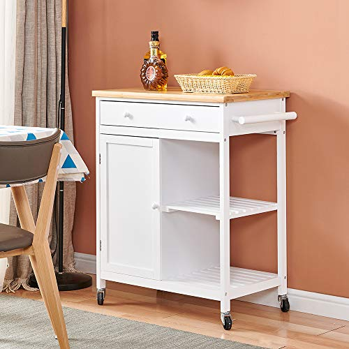 White Kitchen Trolley Island Cart with Bamboo Worktop, Storage Trolley Cart...