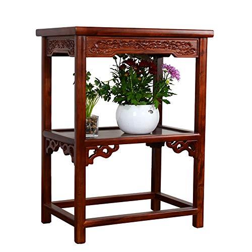 YINUO Ming Et Qing Chinois Classique Multi-couche En Bois Fleur Stand Antique En Bois Massif Fleur Stand Place Cadre Antique Rouge Taille 60x40x80 cm