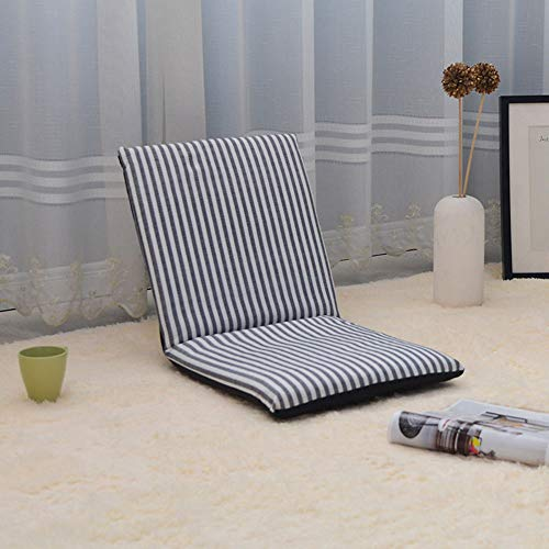 Golvstol hopfällbar meditationssittplats, lyxig vadderad spelstol, multivinkel lat soffa justerbar hög rygg soffa lounge kudde vadderad vilstol (svart)