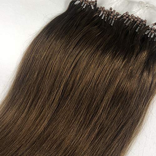 GOOFIT Hair Extensions Micro Loop Human Hair Extensions Remy Hair Double Rings - 1g/s 50s/pack - (22' #04 Medium Brown)