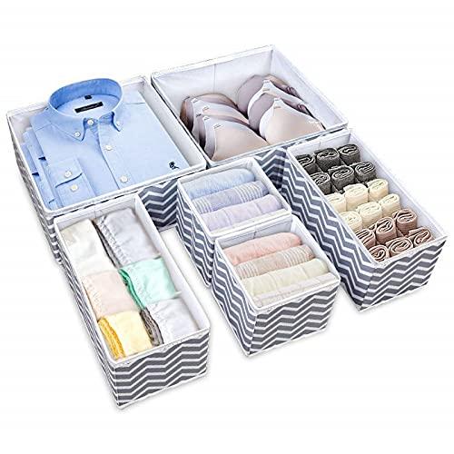 YuuHeeER Organizador de cajón para sujetador, ropa interior, plegable, separadores Ikea para calcetines y cuello, 6 unidades, color blanco