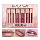 Ensemble de rouge à lèvres liquide 6PCS, brillant à lèvres scintillant...