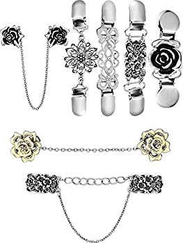 Zhanmai 7 Pieces Vintage Sweater Shawl Clips Collar Chains Clips Flower Patterns Cardigan Dresses Clips for Women Girls Favors  Style 1
