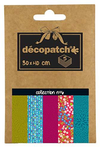 Décopatch DP006O Packung Décopocket mit 5 Papierbogen (30 x 40 cm) (gefaltet, 13 x 9,5 cm, praktisch zum Transportieren und einfach zum Verwenden) 1 Pack farbig sortiert