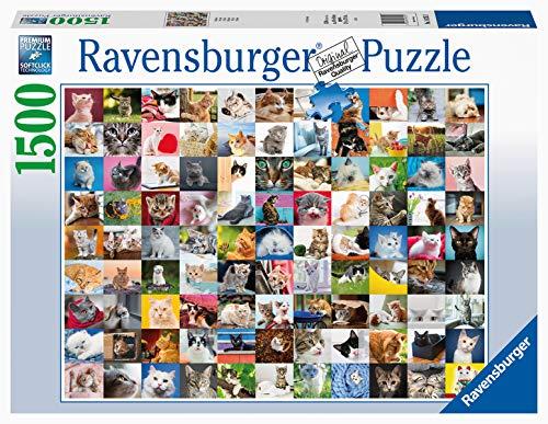 Ravensburger Puzzle Animali, 99 gatti, Puzzle 1500 pezzi, Relax, Puzzles da Adulti, Dimensione: 80x60 cm, Stampa di alta qualità, Animali, Cuccioli, Collage