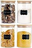 CHARMDI Vasetti in vetro da 1200 ml con coperchio in bambù naturale e anello in silicone, contenitori per sigillare ermeticamente i cereali (set da 4)