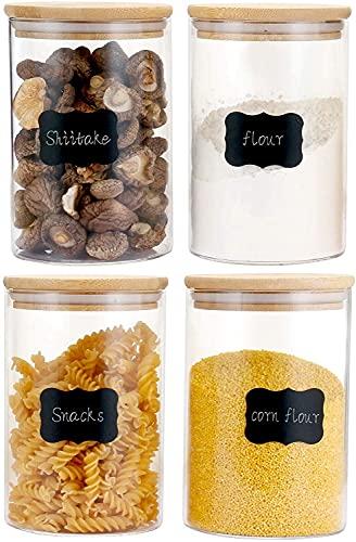 CHARMDI 1200ML Glasgefäße mit natürlichen Bambusdeckeln und Silikonring, Glasaufbewahrungsgefäße für luftdichte Versiegelung, Aufbewahrungsbehälter für Lebensmittelgetreide (4er Set)