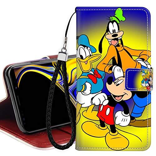 DISNEY COLLECTION Funda tipo cartera para Samsung Galaxy Note 9, piel sintética, con diseño de Mickey Mouse y pato Donald con correa de mano, soporte para la muñeca para mujeres y niñas