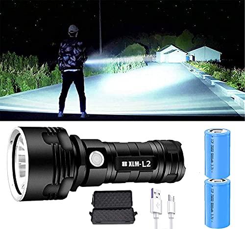 P70 Linterna LED Alta Potencia 30000-100000 Lúmenes, USB Recargable con Indicador de Batería, Portátil Impermeable Linterna 3 Modos,para Camping, Hogar, Emergencia (25W XLM-L2,2batería)