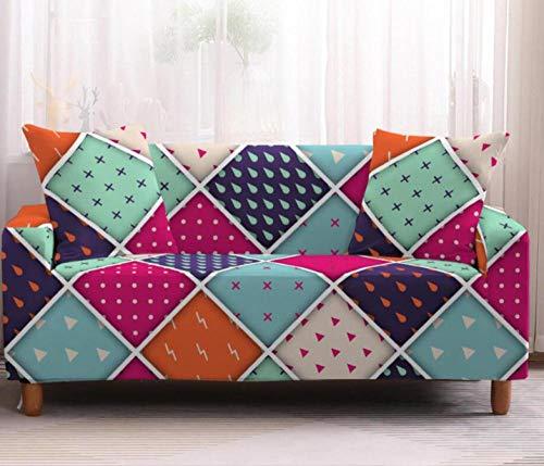 Funda de Sofá Elastica 4 Plazas Patrón De Cuadros Coloridos 3D PoliéSter Spandex Universal Ajustable Cubre Sofas Antisuciedad Antideslizante Protector Cubierta Muebles con Cuerda de Fijación