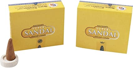 Nag Champa Super Sandal Incense Dhoop Cones, Pair of 12 Cone Boxes - (IN15) by Satya