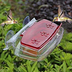 8 ounce capacity with 3 feeding ports, convenient hummingbirds to eat nectar. Brings beautiful hummingbirds right to the window for unobstructed view of birds. Can use this feeder with or without the ant moat to block crawling insects. Hinged lid for...