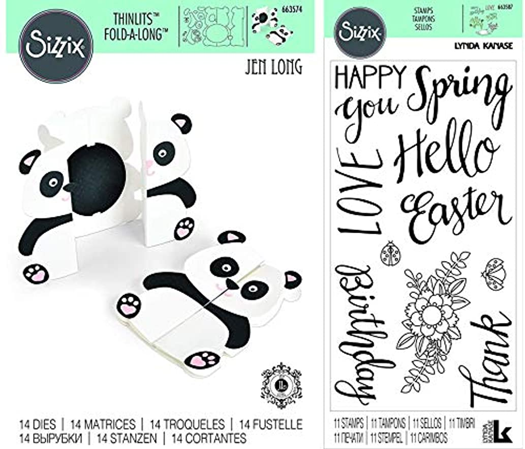Sizzix Panda Fold-A-Long Card Die and Spring Phrases Sentiments Clear Stamps - 2 Items