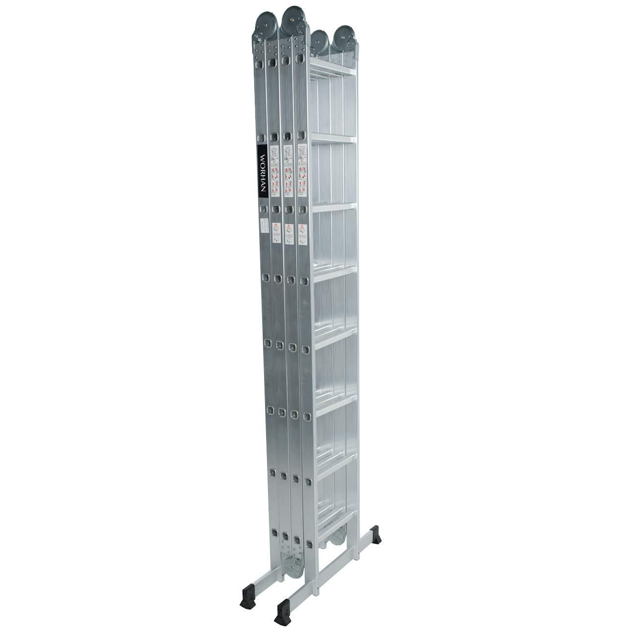 worhan® multiusos Escalera de aluminio telescópica (pie escalera de aluminio escalera 2,5 m 4,6 m 5,7 m 6,7 m 8,06 M 9,18 M 10,30 M: Amazon.es: Bricolaje y herramientas