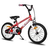 HILAND Pluto - Bicicleta infantil de 16 pulgadas para niños de 4 a 7 años, con soporte, freno de mano y freno de contrapedal, color rojo