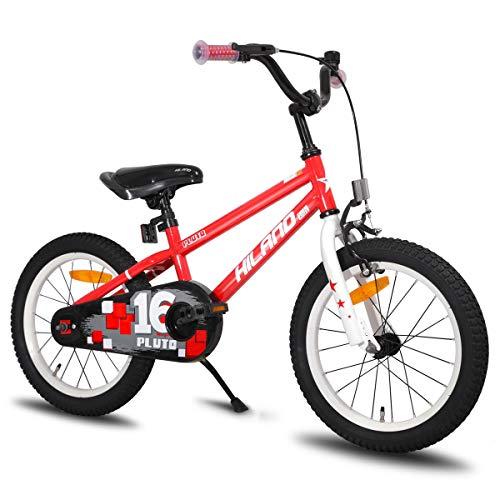 HILAND Star 16 Zoll Kinderfahrrad für Mädchen Jungen 4+ Jahre mit Stützräder, Handbremse und Rücktritt Rot