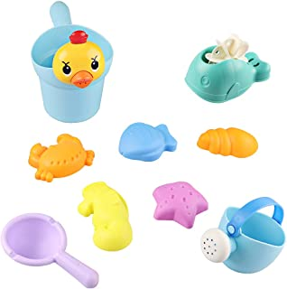 M AOMEIQI Beach Sand Toy Set for Kids Toddlers Baby with Yellow Duck Bucket,Whale Waterwheel,Watering Can,Water Ladle,Sea Animal Molds(Random Color)